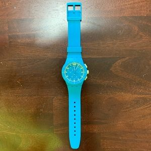 Turquoise and Lime Green Swatch Watch